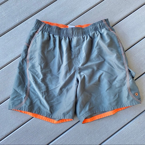 Men's Gray and Orange Nike Bathingsuit